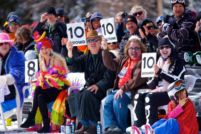 Style and skill play a big part in Canyons Resort's annual pond skimming party.