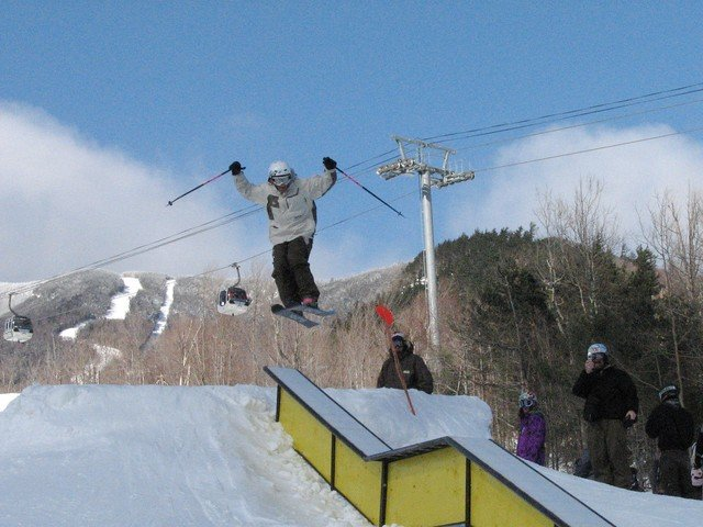 Skier at Whiteface's terrain park.