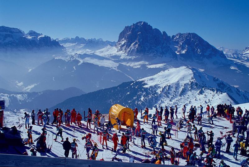 Skiers at Selva Val Gardena ITA