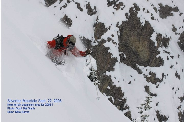 A skier exploring some new terrain and powder at Silverton, CO.