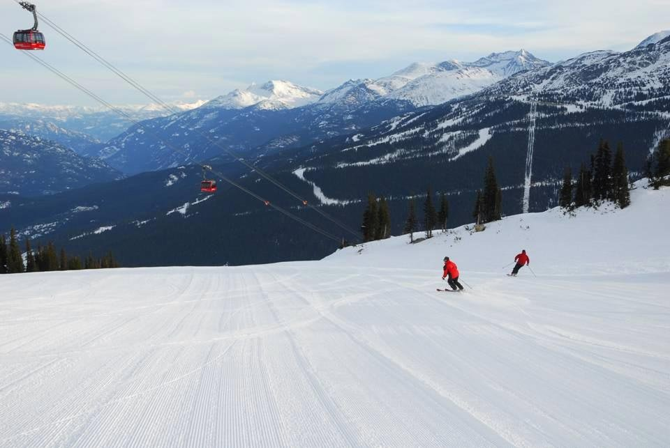 Skiers on the groomed trails of Whistler Blackcomb.