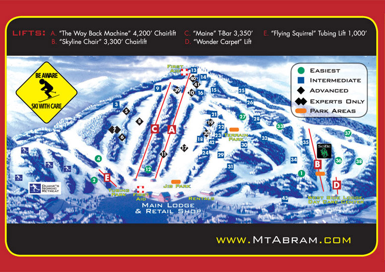 Trailmap of Mt. Abram, Me.