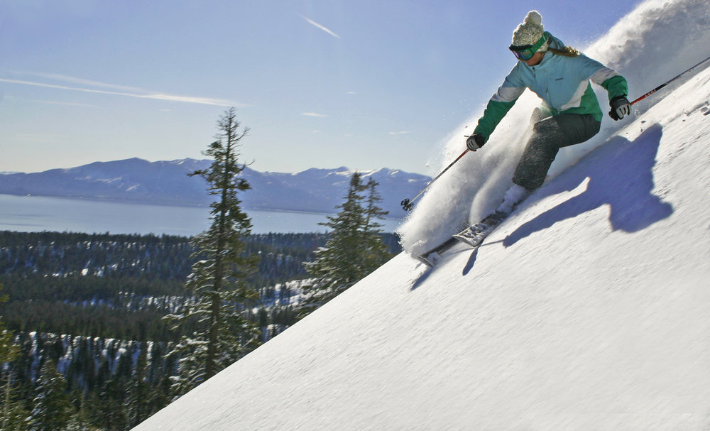 A skier on Quail Face at Homewood, CA.