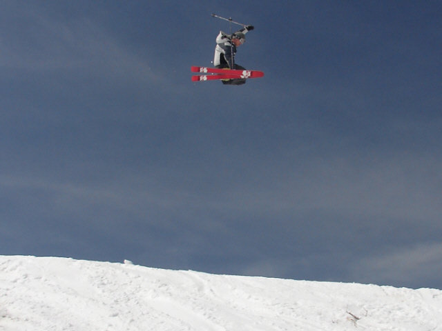 A skier gets some major air in Snow Valley, California