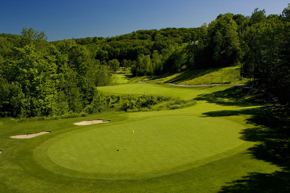 Golf course green and sandpits at Shanty Creek