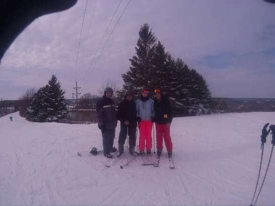 very nice day out on the slopes.  no ice and well groomed.