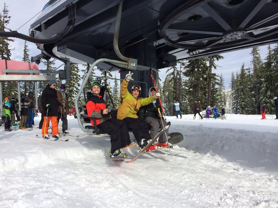 Loading the chair on opening day at Mt. Bachelor in Nov. 2014.