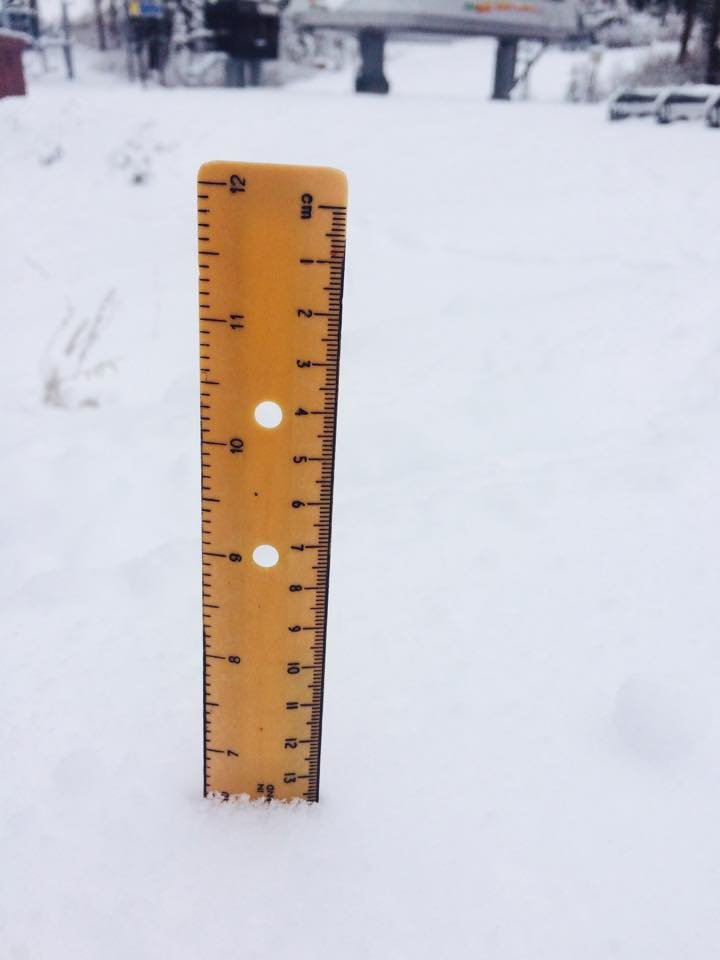 Sierra-at-Tahoe received as much as six inches of snow in the base area near the new Solstice Plaza.