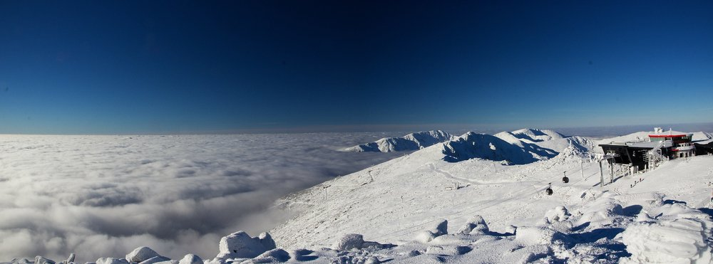 Snowmaking has started on Chopok. Beautiful views from the highest peak of Low Tatras, Slovakia - Nov 22, 2014