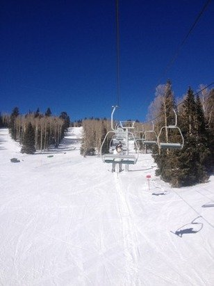 Empty chairs; bluebird skies; great mid winter packed powder