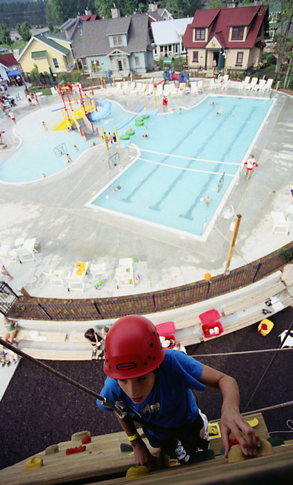 A view of the pool by the Water's Edge Climbing Wall, Crystal Mountain, MI.