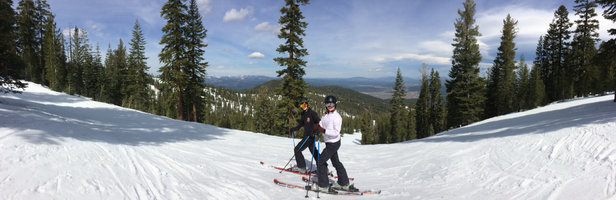 Northstar California - Great runs off top - this shot at top of Tonini's - taken around 12 PM today.  NS staff have done an epic job keeping this hill alive with such warm weather. Come get it while it lasts! - ©Paul's iPhone