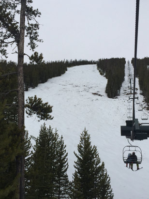 Discovery Ski Area - 3/15:  Raining earlier in the day.  Sluice box, silver bow almost unskiable.  Berkeley getting pretty bare too.  Back side in better shape but snow is soft and thin pretty much everywhere. - ©Sarah Mullowney's iPhone