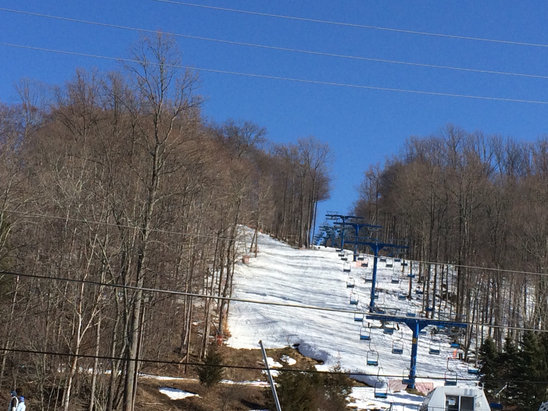Shawnee Mountain Ski Area - Soft where the sun was firm where it was shade. March fun. One more weeks to go. - ©Stephen's iPhone