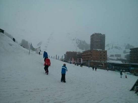 La Plagne - wet snow at 1800m  better higher