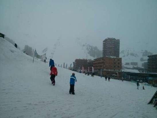 La Plagne - wet snow at 1800m  better higher