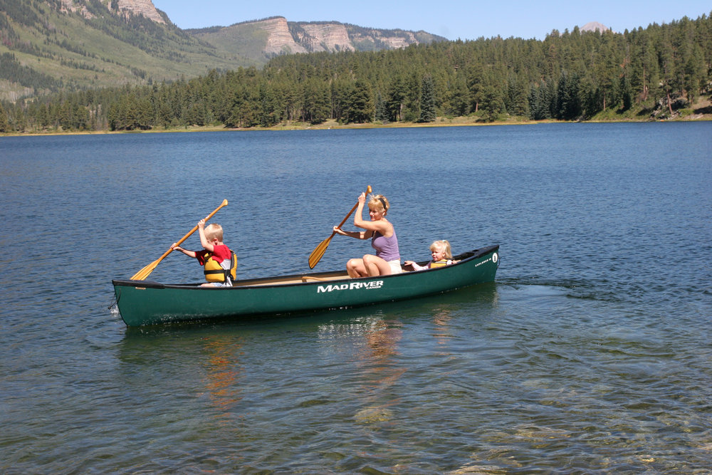 Canoeing in Vallecito Lake, Durango, CO.