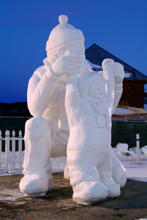 A snow sculpture at the Breckenridge, CO International Snow Sculpture Championships. Image by Jeff Scroggins.
