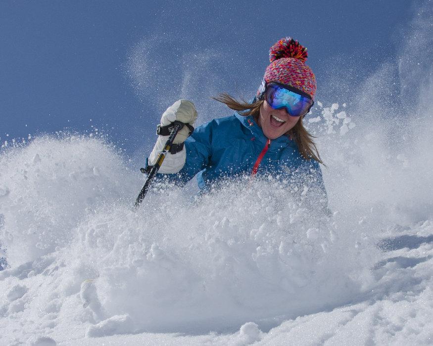 Powder and blue skies at Snowbird, Utah.