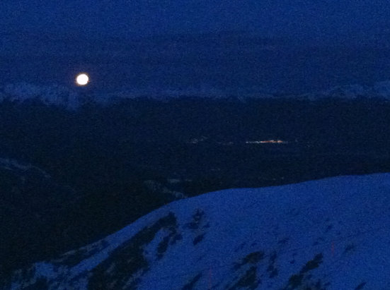 Arapahoe Basin Ski Area - Our viewpoint from the top of Larkspur, 0500.