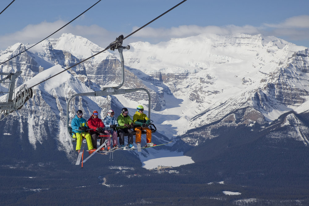 Riding the Top of the World Chair with view of Victoria Glacier.  - ©Henry Georgi