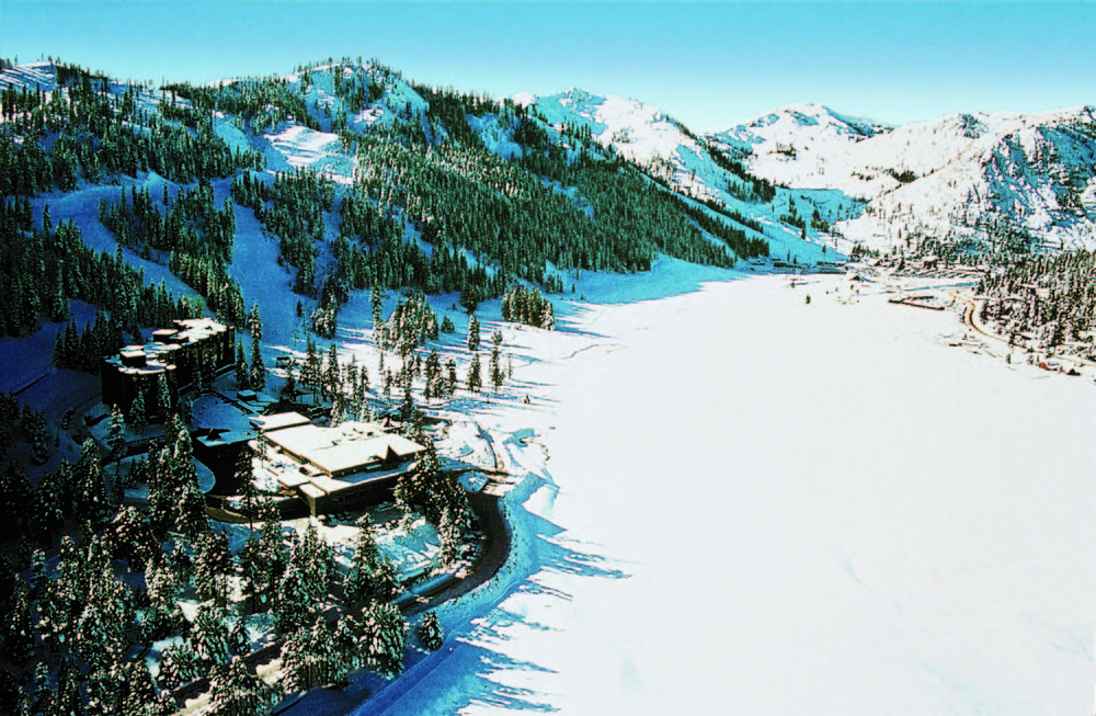A winter aerial shot of The Resort at Squaw Creek.