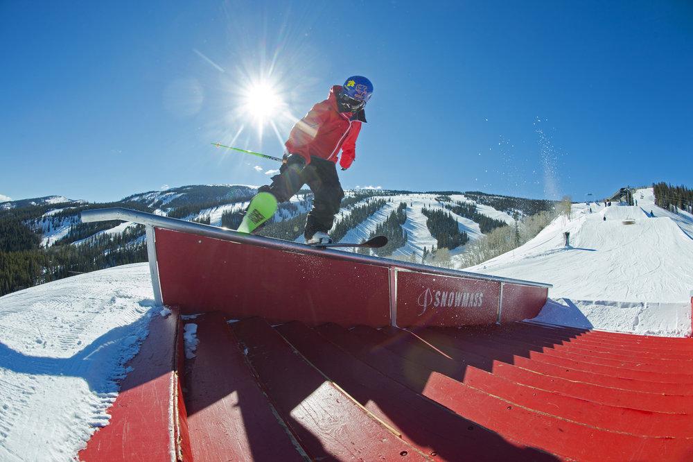 Tae Wescott hits a rail at Aspen Snowmass. - ©Scott Markewitz Photography, Inc.