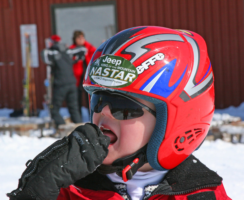 Young competitive skier at Wild Mountain, MN