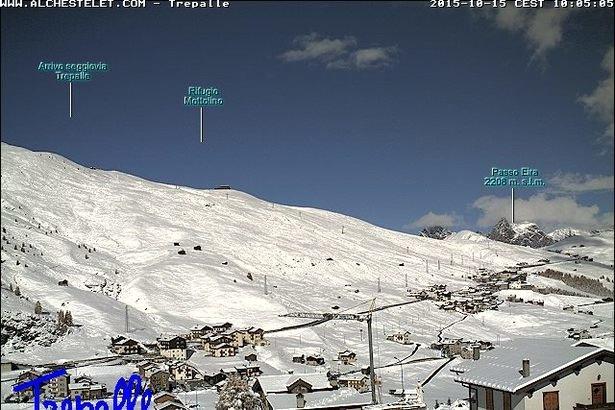Livigno, neve fresca 15.10.15 - ©Webcam Livigno.eu