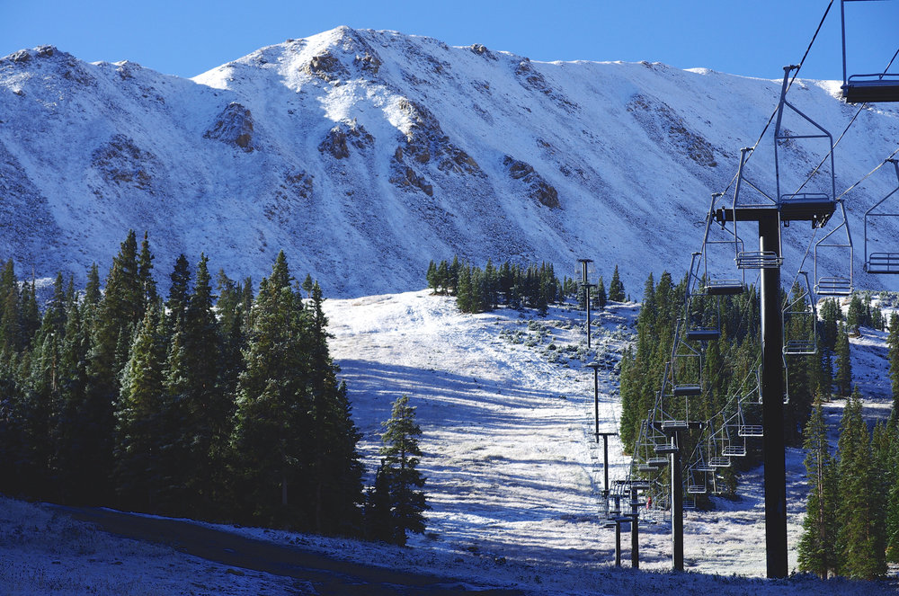 A dusting of snow covered Loveland Ski Area in early October, 2015.