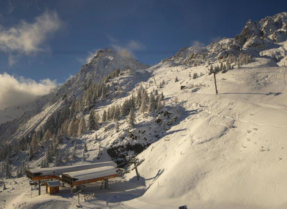 Chamonix ce midi entre neige au soleil
