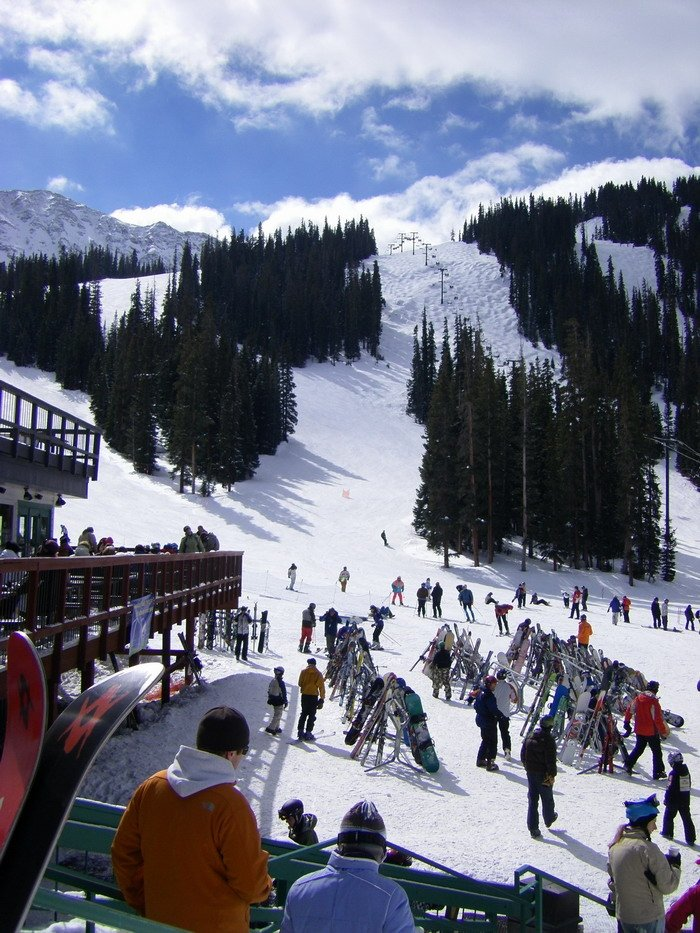 Skiers at Arapahoe Basin's base area.