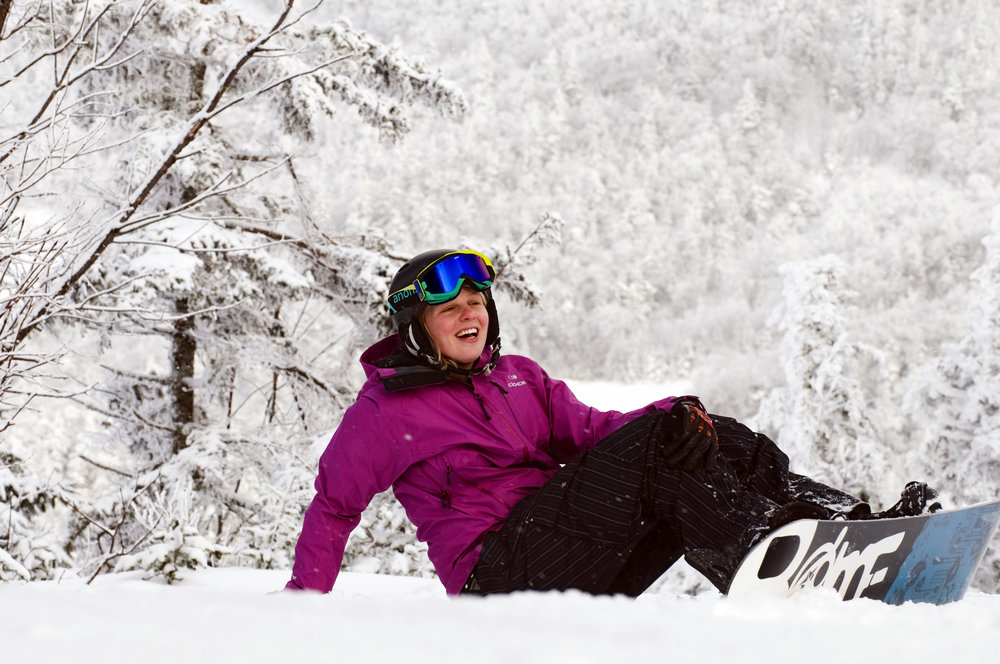 Bridget taking a break at Smugglers' Notch, Vermont.
