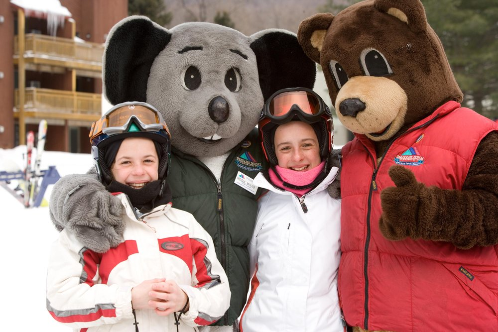 Kids and mascots at Smugglers' Notch, Vermont.