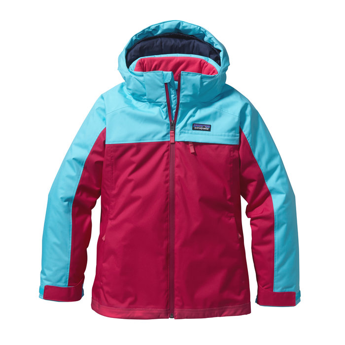 Patagonia Girls Insulated Snowbelle Jacket: $199 Into powder up to her ear buds, your little shredder can carve and turn till the last run because her Insulated Snowbelle Jacket warms, resists and sheds. H2No® Performance Standard 2-layer polyester mini-herringbone shell with a waterproof/breathable barrier and DWR (durable water repellent) finish provide high-level cold-weather protection. Bluesign® approved liner fabric plus fully-taped seams lock in 150-g, recycled Thermogreen® insulation to keep her toasty, while the waterproof center-front zipper with full-length internal wind flap, hook-and-loop closure cuffs and internal mini-powder skirt keep the snow out. Grow-fit feature adds 2 inches to the articulated sleeves and snap loops attach to the Girls' Insulated Snowbelle Pants. Additional features include zippered handwarmer pockets, zippered left-chest pocket with interior cable routing, bottom hem drawcord for secure fit and hand-me-down ID label.
