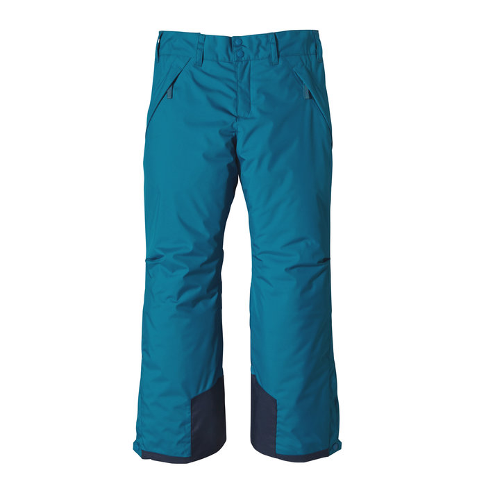 Patagonia Girls Insulated Snowbelle Pants: $149 In deep, thigh-burning chutes, the fully-insulated Snowbelle Pants will keep her dry, evenly vented and charging. H2No® Performance Standard, 2-layer polyester shell with a breathable/waterproof barrier and DWR (durable water repellent) finish has fully-taped seams. Bluesign® approved liner fabric plus lightweight 100-g Thermogreen® insulation (90% recycled) that stays dry in wet conditions. Adjustable waistband has microdenier fleece lining for comfort; articulated knees don't restrict turns. Belt loops on rear yoke attach to the Girls' 3-in-1 and Insulated Snowbelle jackets for versatile, single-piece protection. Other notables include zippered fly with double-snap closure, two covered zip handwarmer pockets, nylon scuff guards to protect hem and inside pant leg, internal bluesign® approved gaiter and over-boot gusset that snaps closed to seal out cold. Grow-fit feature in leg increases length by 2 inches.