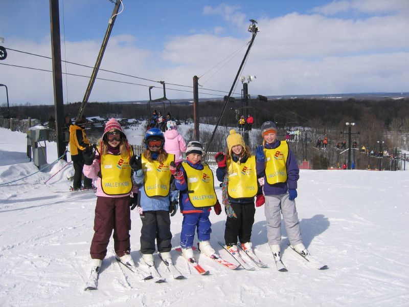 A group of kids learning to ski at Swiss Valley, MI.