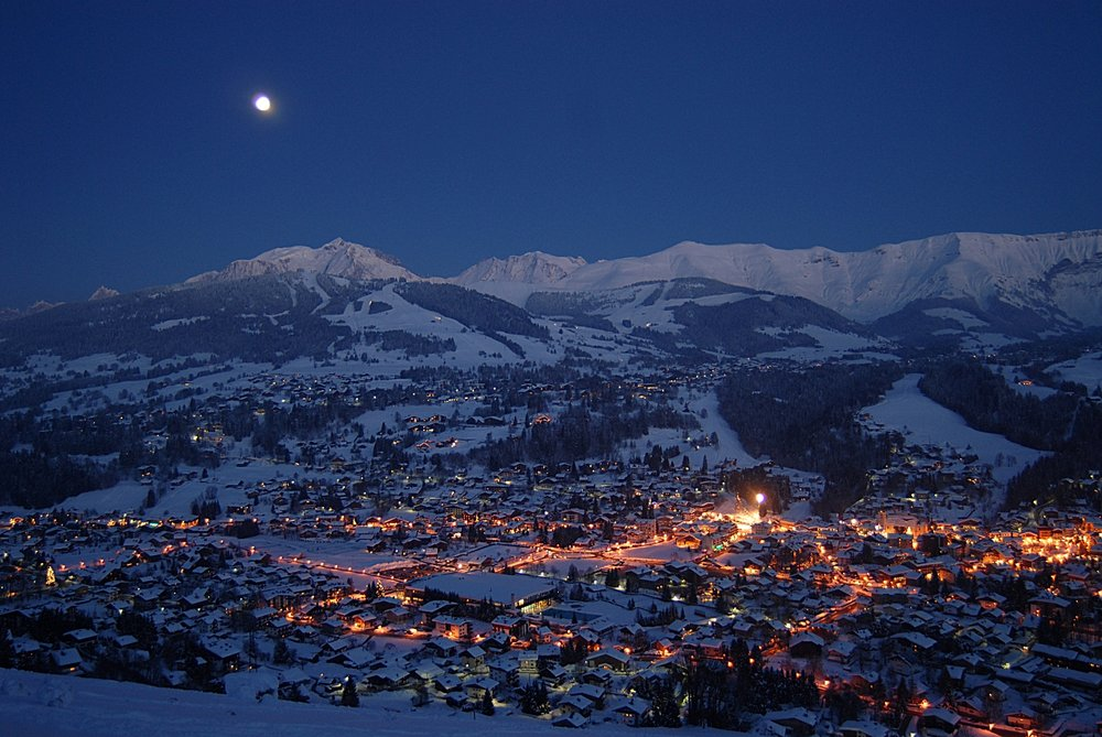Megeve at night.
