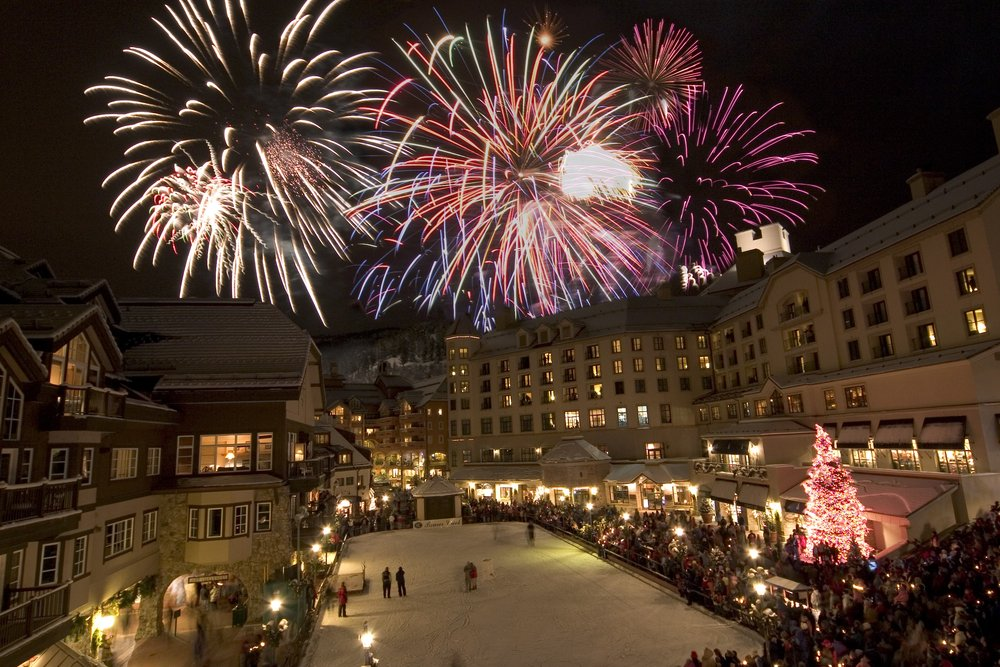 Fireworks over Beaver Creek's icerink.