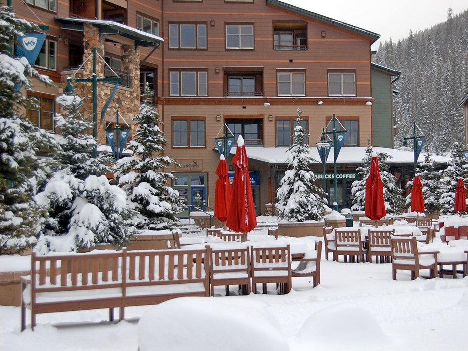 Base lodge area of Winter Park, CO with fresh snow, 10/28/9.