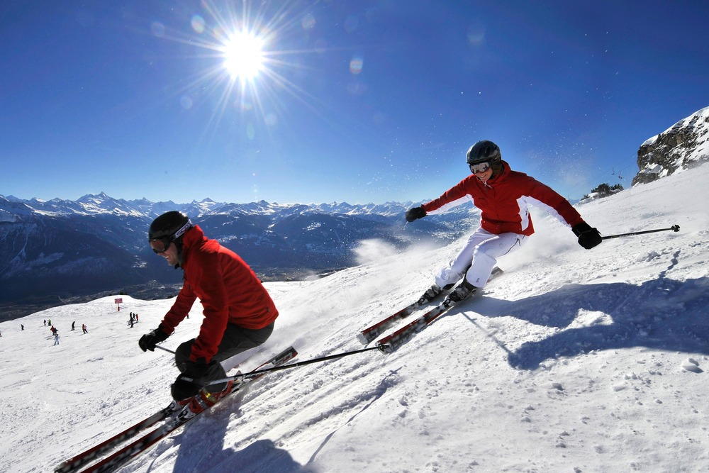 Carving up the slopes at Crans Montana, Switzerland