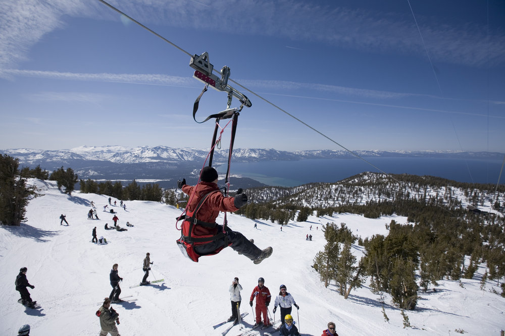 Josh De La Fuente and Dave Weisberg ride the Heavenly Flyer at Heavenly Mountain Resort in South Lake Tahoe, CA.