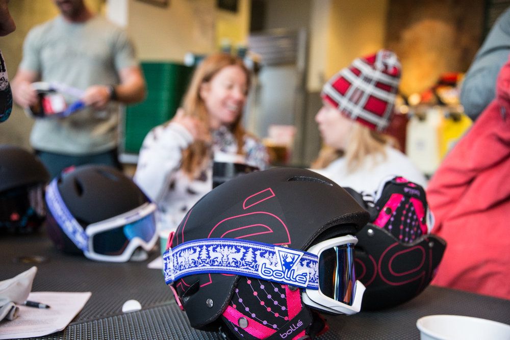Organized chaos during the Ski Test 2016 kickoff meeting at Creekside Café and Grill in Snowbird.  - ©Liam Doran