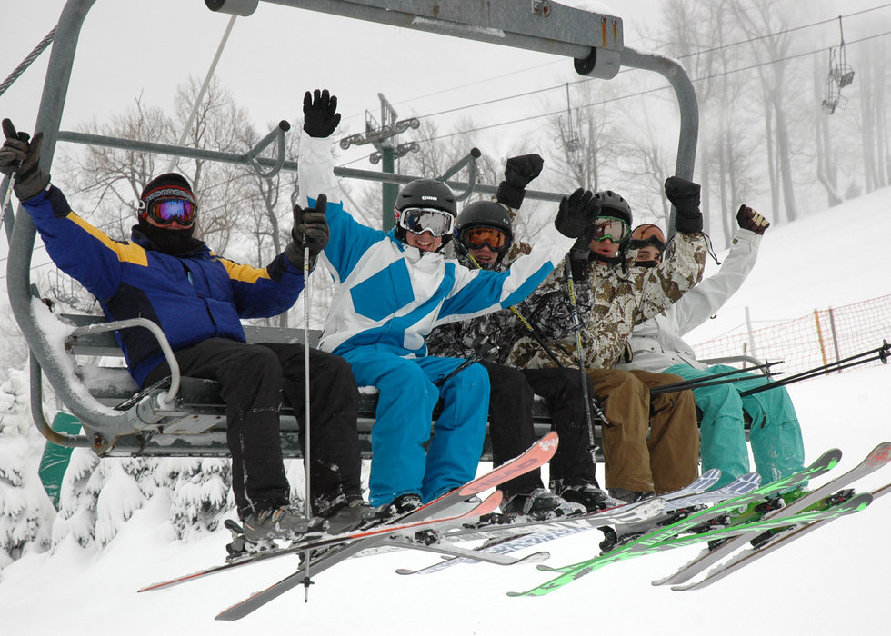 Skiers on the Seven Springs Polar Bear Express