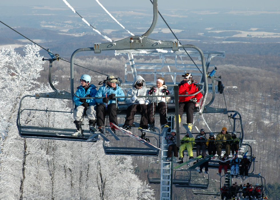 Visitors going up Gunnar Express at Seven Springs PA