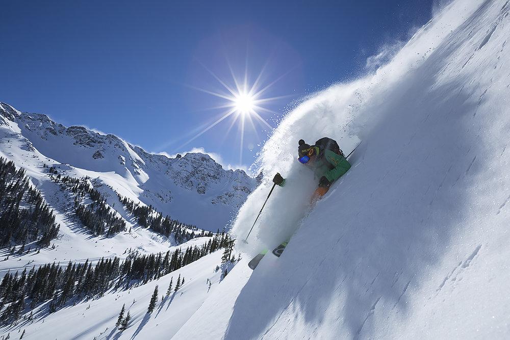 Skier, Sven Brunso demonstrates how it's done in Silverton. - ©Scott DW Smith