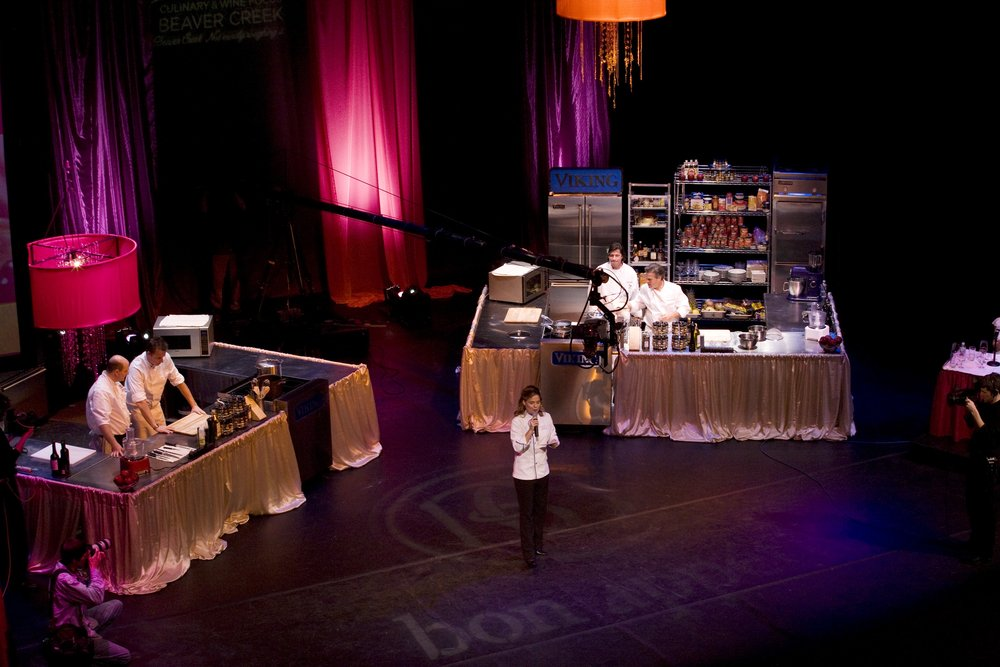 Cat Cora, Bon Appetit's Executive Chef and Iron Chef, Announcing the 2009 Master Chef Challenge; credit Beaver Creek Resort.