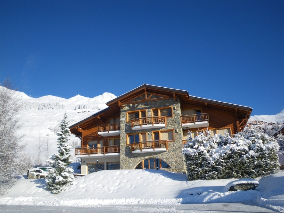 Exterior of Les Elfes winter camp, Verbier, Switzerland.