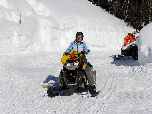 Snowmobilers in Saalbach, Austria.