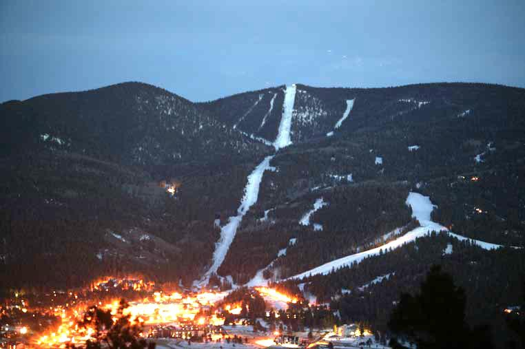 Angel Fire NM resort at night. Photo by Jack Affleck.